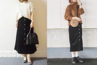 人気のフロントボタンスカートも。GUのコーデュロイスカートのコーデ