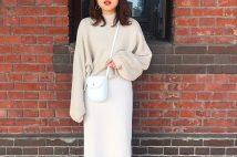 GUリブナローミディスカートのコーデ。サイズ感も。