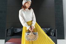 GUプリーツミディスカートのコーデ2019春。サイズ感も。