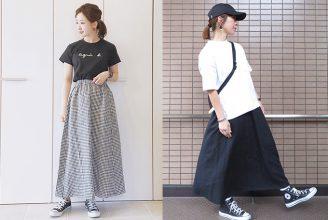 【GU】リネンブレンドフレアロングスカートのコーデ。サイズ感も