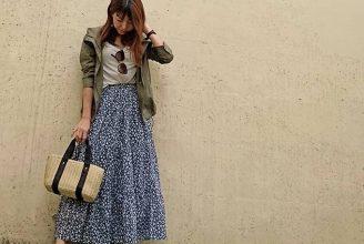 【GU】ティアードフレアロングスカートのコーデ。サイズ感も分かる