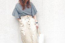 【GU春アイテム】ペーパーバックミディスカートのコーデ