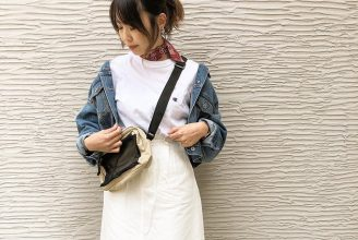 【GU】デニムフレアマキシスカートのコーデ。サイズ感も。