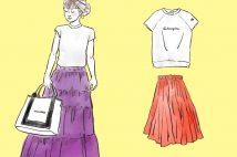 ちょいカジュアルに。夏の、フレアロングスカートのコーデ