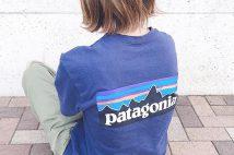 バックロゴが可愛いパタゴニアTシャツ(P-6ロゴ・レスポンシビリティー)のコーデ。サイズ感も