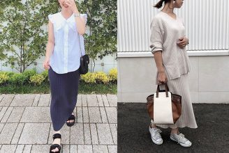 【GU】セットアップも可愛い、ワイドリブニットナロースカートのコーデ。サイズ感も