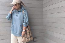 メンズラインが可愛い。GUスウェットプルパーカのコーデ。サイズ感も2019秋冬
