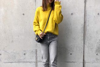 【GU】スウェットライクハイネックセーターのコーデ。サイズ感も2020冬