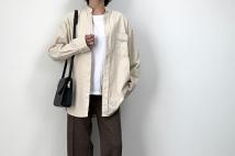 【ユニクロ】コーデュロイワイドフィットスタンドカラーシャツのコーデ。サイズ感も
