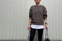 【ユニクロユー】スウェットクルーネックシャツのコーデ。サイズ感も2020AW