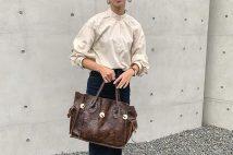 【ユニクロユー】コットンサテンスタンドカラーシャツのコーデ。サイズ感も2020AW