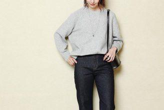 【ユニクロJW ANDERSON】スフレヤーンクルーネックセーターのコーデ。サイズ感も