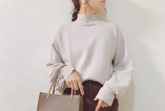 【GU】スウェットライクハイネックセーターのコーデ。サイズ感も