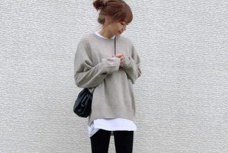 【ユニクロ】プレミアムラムクルーネックセーターのコーデ。サイズ感も