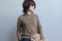 【ユニクロ】エクストラファインメリノクルーネックセーターのコーデ。サイズ感も