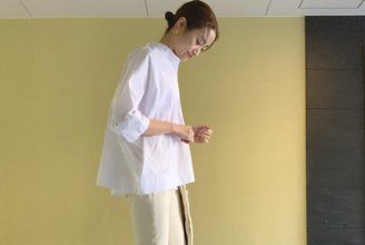 【ユニクロ+J】スーピマコットンドルマンスリーブシャツのコーデ。サイズ感も